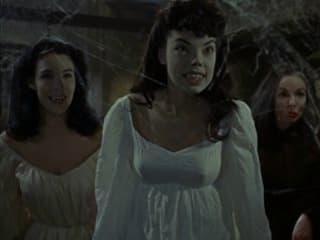 still from film Brides of Dracula with vampires