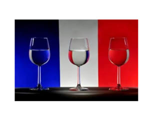 wine glasses in front of the French flag France