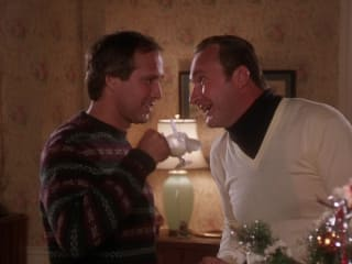 Clark Griswold and Cousin Eddy, Chevy Chase and Randy Quaid in National Lampoon's Christmas Vacation