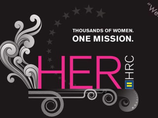 banner for Her HRC Austin party