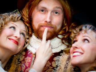 actors from the David Ives play The Liar at Austin Playhouse