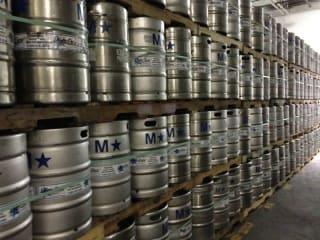 stacks of beer kegs