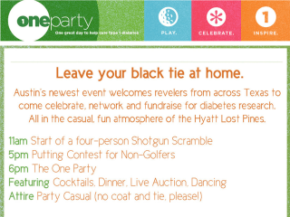 flyer for the JDRF One Party at Lost Pines Resort