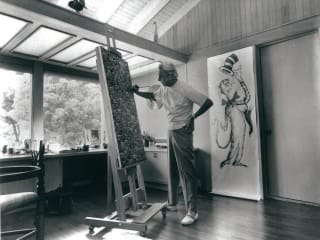 Dr. Seuss, Theodor Seuss Geisel, painting in his studio