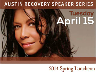 Natalie Cole speaking at Austin Recovery luncheon