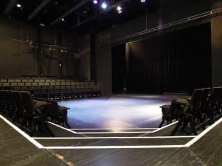 interior stage of Oscar G. Brockett Theatre at UT