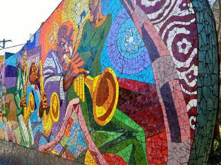 """""""Rhapsody"""" mosaic mural by John Yancey on East 11th"""