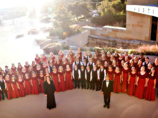 Conspirare Youth Choir in front of Austin City Hall