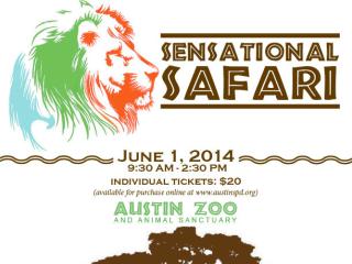 poster for Sensation Safari at Austin Zoo and Animal Sanctuary