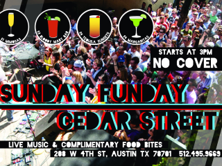 poster for Sunday Funday at Cedar Street Courtyard