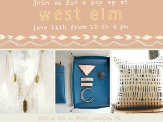 flyer for West Elm Austin pop up on June 14 2014
