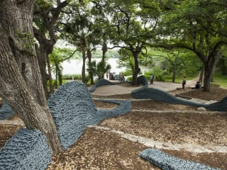 outdoor sculpture Current by Orly Genger at Contemporary Austin Laguna Gloria