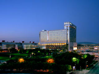 Hilton Americas-Houston anniversary celebration December 2013 Hilton Americas exterior night