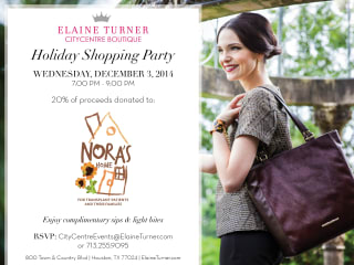 Holiday Shopping Party at Elaine Turner benefiting Nora's Home