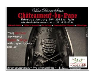 Châteauneuf-du-Pape Wine Dinner at L'Olivier