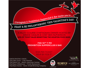 """D'Artagnan and Prohibition Supperclub & Bar host """"Feast and Be Philanthropic this Valentine's Day"""""""
