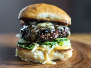 Oasthouse Kitchen and Bar Austin restaurant Umami blended mushroom beef burger
