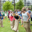 Potato sack race at YCPD Field Day 2016