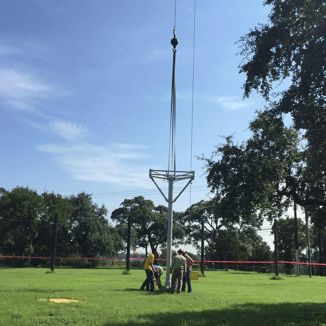 Zilker Park moonlight tower moontower installation August 2016