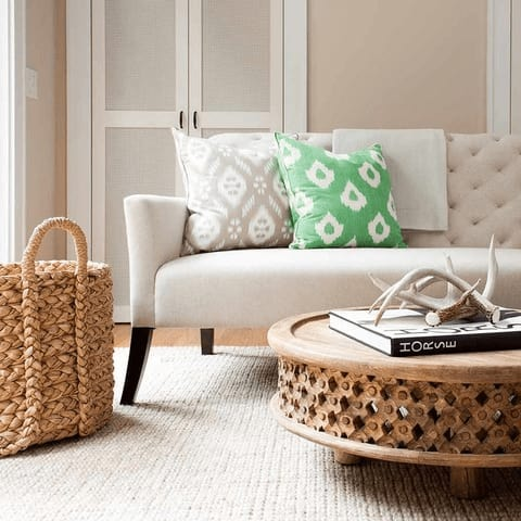 Rustic living room with baskets