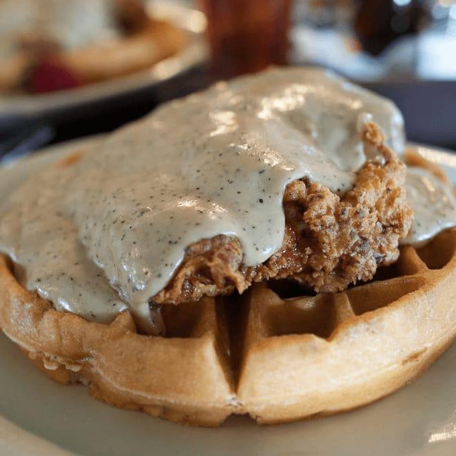 Chicken and waffles at Jonathon's Oak Cliff restaurant