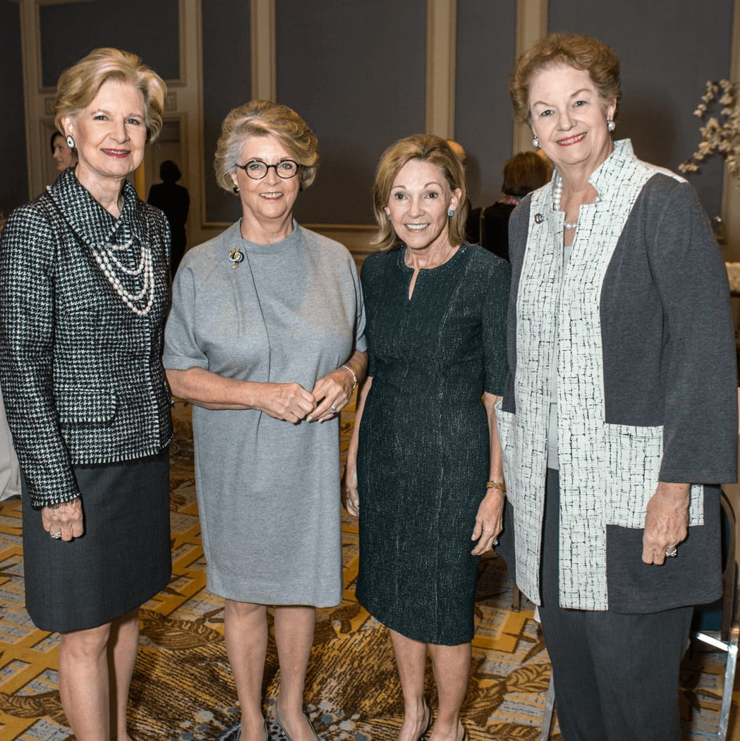 Junior League of Dallas Lifetime Achievement Award Recipient Caren Prothro, Sustainer of the Year Linda McFarland, Milestones Luncheon Co-Chair Pat Prestidge and Sustainer President Kittye Peeler