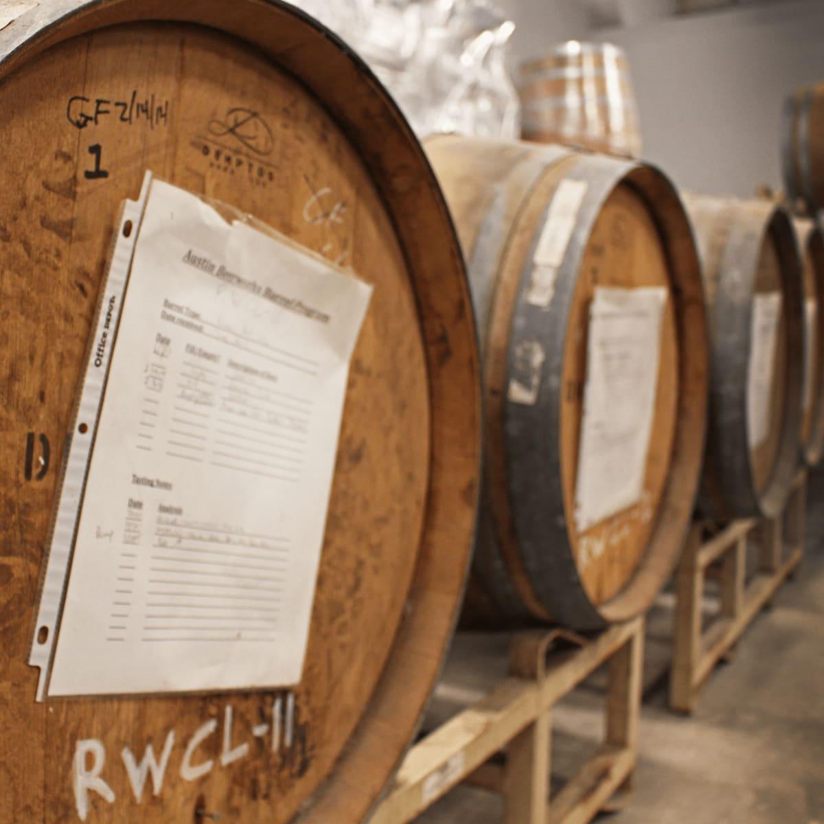 Austin Beerworks brewery barrels