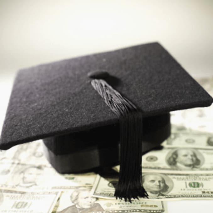 graduation cap, money, college