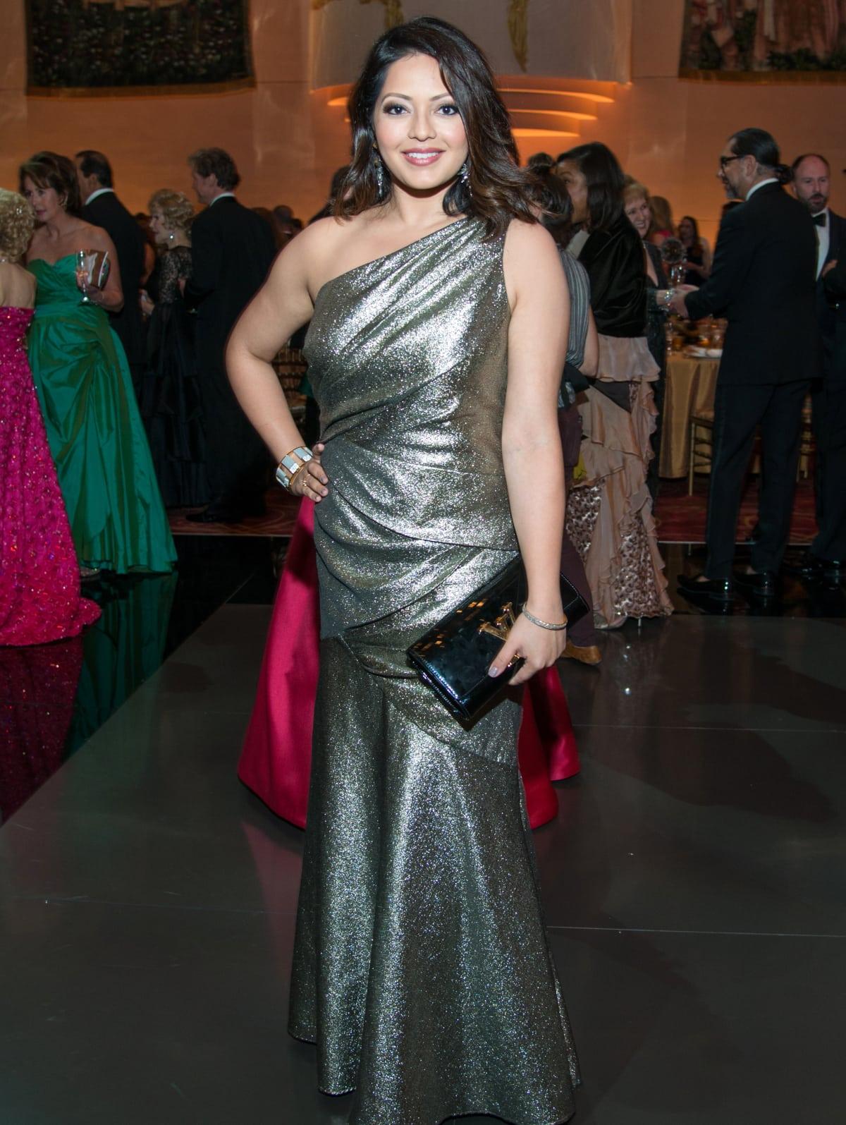 Houston, Ballet Ball gowns, Feb 2017, Rekha Muddaraj in Carmen Marc Valvo