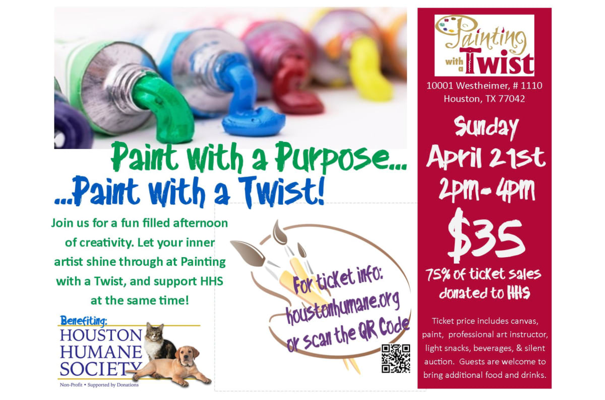Houston humane society 39 s painting with a twist party for Wine and paint san antonio