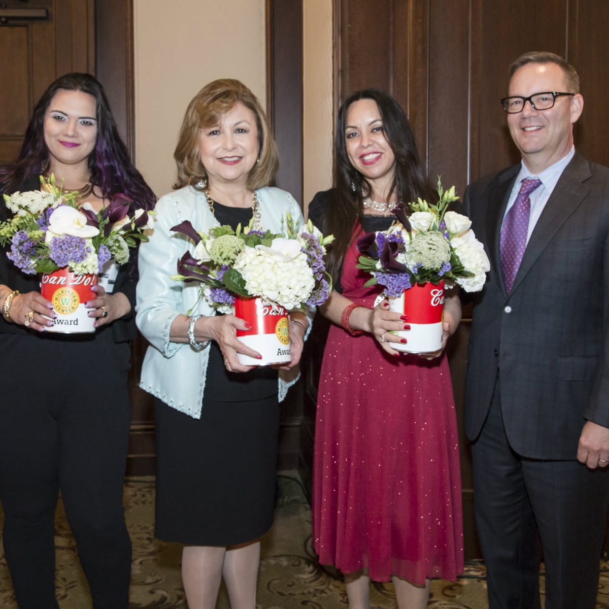 Can Do Luncheon Award Recipients (Katherine Perot Reeves- NTFB Board member, Christina Parks- Wilkinson Center client, Regina Montoya, Marilu Rodriguez- Wilkinson Center client, Brett Gray-NTFB