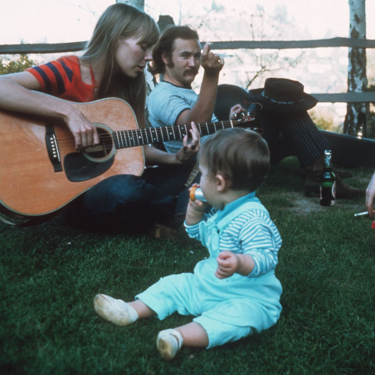 Joni Mitchell, David Crosby, and Eric Clapton at Mama Cass' house