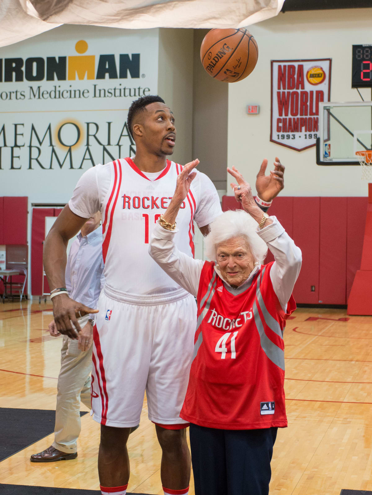 Connect4Literacy photo shoot, Feb. 2016, Barbara Bush, Dwight Howard