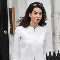 Amal Clooney wearing a Giambattista Vallli suit in London