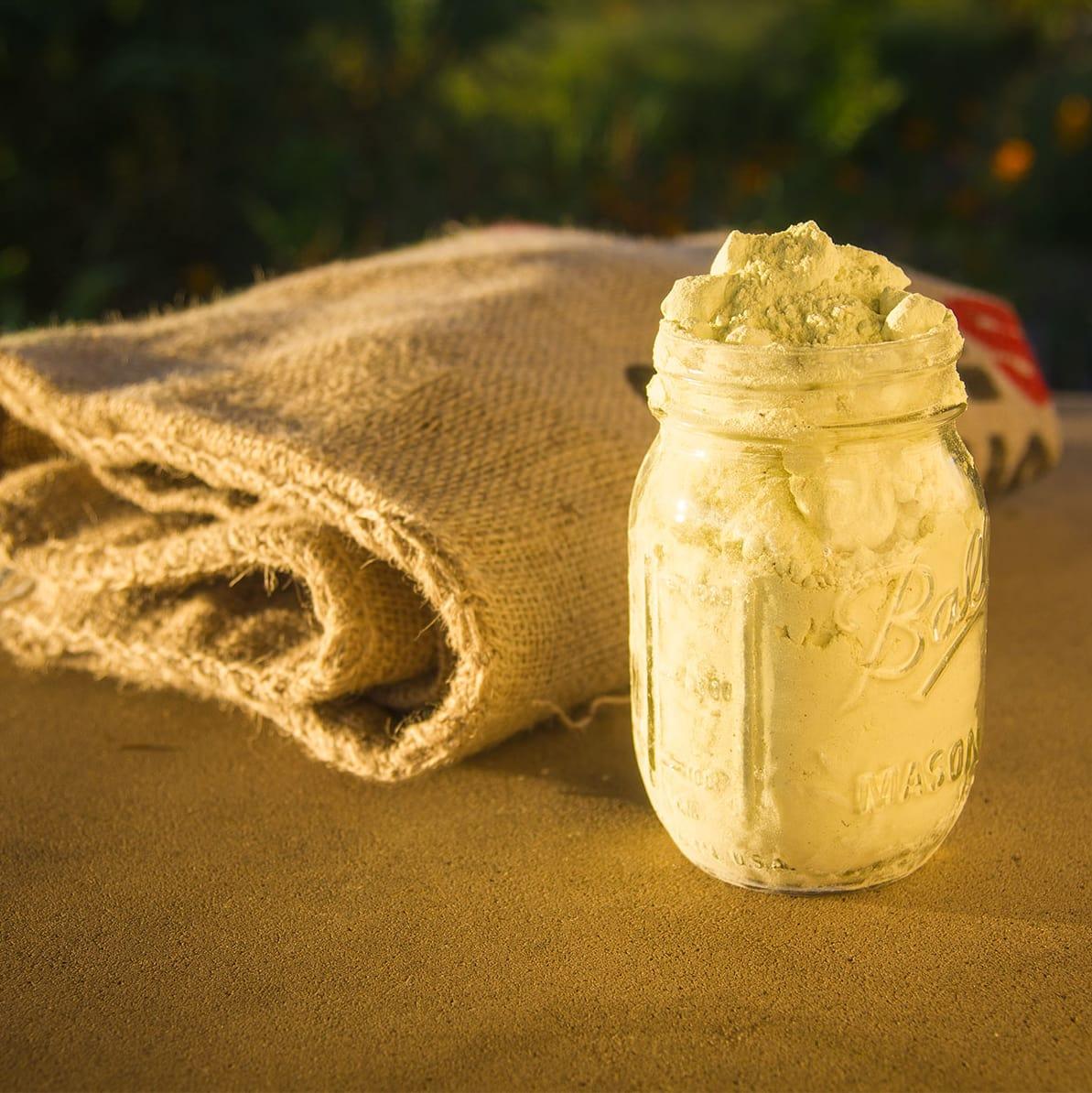 Photos of jar full of sulfur and burlap sack