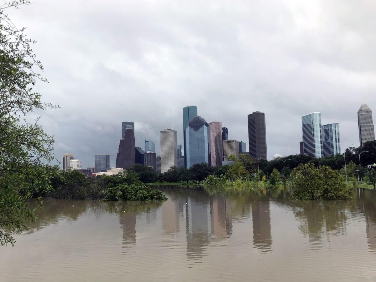 Houston, Hurricane Harvey, flood photos, Buffalo Bayou Park from Gillette St.