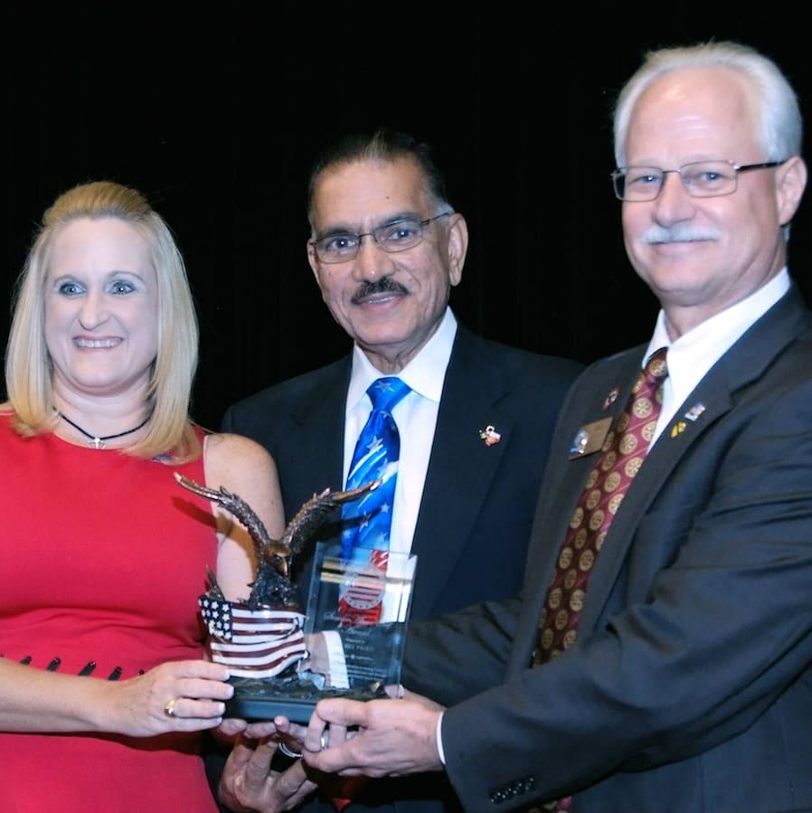 PDG Rhonda Walls Kerby, PDG Sunny Sharma, DG Bill Palko