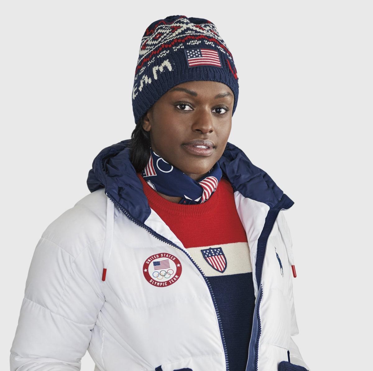 Aja Evans in Ralph Lauren closing ceremony outfit Winter Olympics 2018