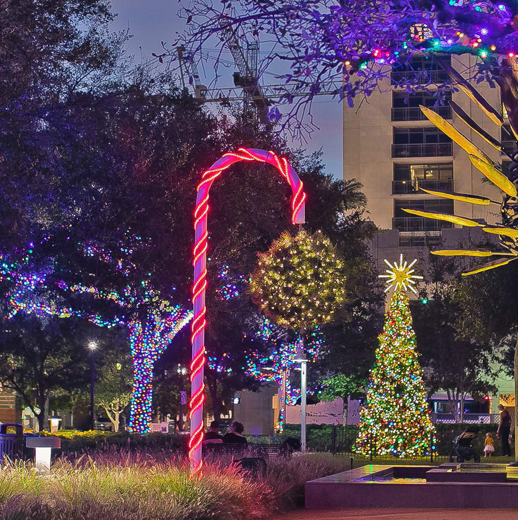 Mistletoe ball at Houston's Market Square Park