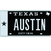 Austin vanity license plate
