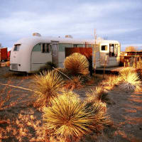 El Cosmico in Marfa at sunset