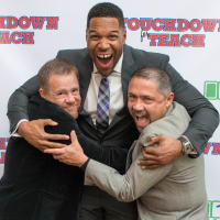 News, Shelby, Touchdown for TEACH, Nov. 2015 Shelby Kibodeaux, Michael Strahan, Bruce Padilla