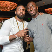 Arian Foster charity dinner Morton's Arian Foster, Alfred Blue