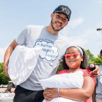 Houston, Carlos Correa, Mattress Firm, Houston Children's Charity mattress giveaway, August 2017, Carlos Correa and young kid