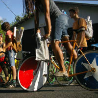 Austin Photo Set: News_Leah Moss_paper girl art_June 2011_bike