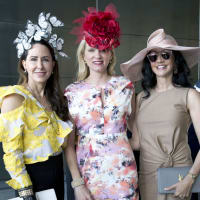 Houston, hats in the park, April 2017, Liz Glanville, Gretchen McFarland, Nancy Littlejohn.