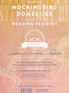 Mockingbird Domestics wedding registry launch party May 2013