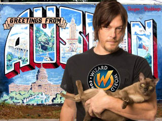 Wizard World Austin Comic Con promo photo of Norman Reedus holding a cat