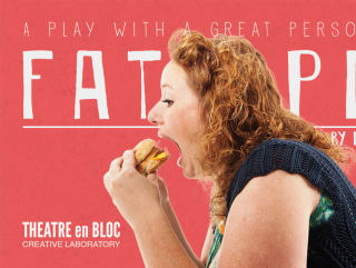 Fat Pig at Theatre en Bloc poster with woman eating cheeseburger