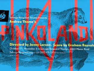 Poster for Salvage Vanguard production Pinkolandia by Andrea Thome